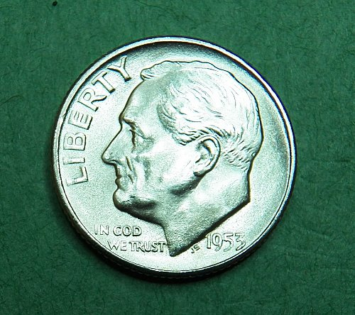 1953 S Roosevelt Dime Brilliant Uncirculated Coin   d55