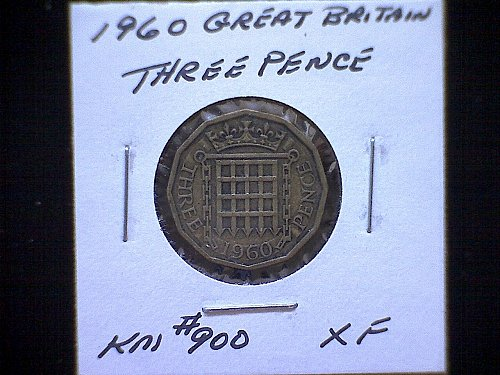 1960 GREAT BRITAIN QUEEN ELIZABETH 11  THREE PENCE
