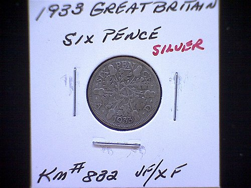 """1933 GREAT BRITAIN KING GEORGE V  SIX PENCE  """"SILVER"""""""