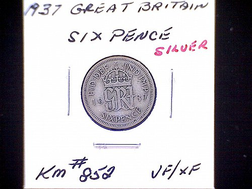 """1937 GREAT BRITAIN KING GEORGE V1  SIX PENCE  """"SILVER"""""""
