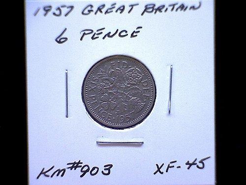 1957 GREAT BRITAIN QUEEN ELIZABETH 11  SIX PENCE