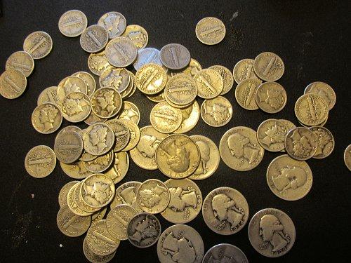65 mercury dimes1933 to 1944 and 15 washingon quarters 1935 to 1944
