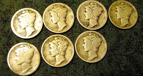 1917, 17 S, 2 X 23 P's, 24 P, 2 X29 P's Merc Dimes-+ 2 FREE DIMEs A-50