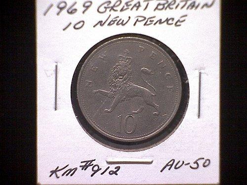 1969 GREAT BRITAIN QUEEN ELIZABETH 11  TEN PENCE