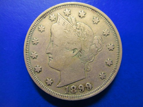"1899 Liberty ""V"" Nickel Very Fine-25 Nice Pearl Gray Obv & Steel Gray Rev!"