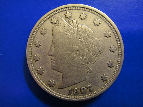 "1907 Liberty ""V"" Nickel Very Fine-30 Sharp Hair Defintion For Grade!"