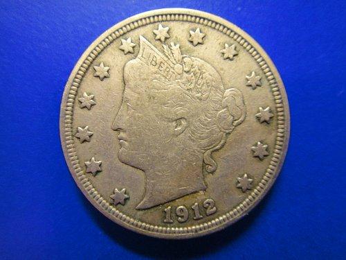 "1912 Liberty ""V"" Nickel Very Fine-30 Nice Pearl Gray Original Tone!"