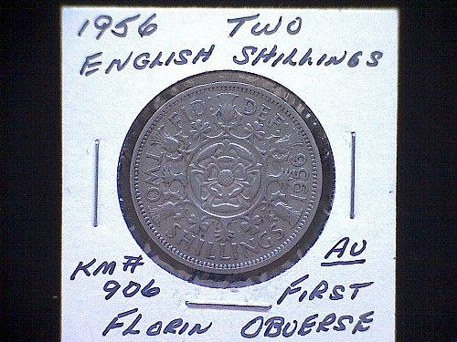 1956 GREAT BRITAIN QUEEN ELIZABETH 11  FLORIN TWO SHILLINGS