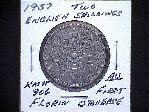 "1957 GREAT BRITAIN QUEEN ELIZABETH 11  ""FLORIN""  TWO SHILLINGS"
