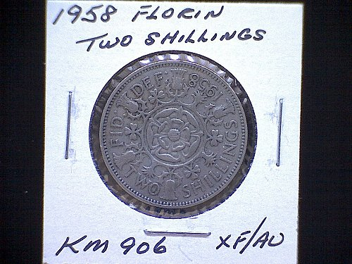 "1958 GREAT BRITAIN QUEEN ELIZABETH 11  ""FLORIN""  TWO SHILLINGS"