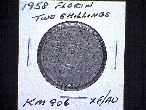 "1958 GREAT BRITAIN QUEEN ELIZABETH 11  ""FLORIN""  TWO SHILLINGS"