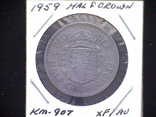 1959 GREAT BRITAIN QUEEN ELIZABETH 11  1/2 CROWN