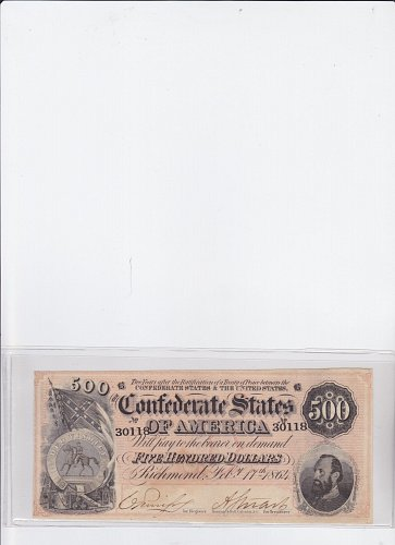 1864 Confederate $ 500.00 Note ( Stonewall Jackson ) Civil War
