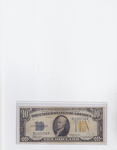 1934-A $ 10 Silver Certificate ( Yellow Seal World War 11 Replacement Currency )