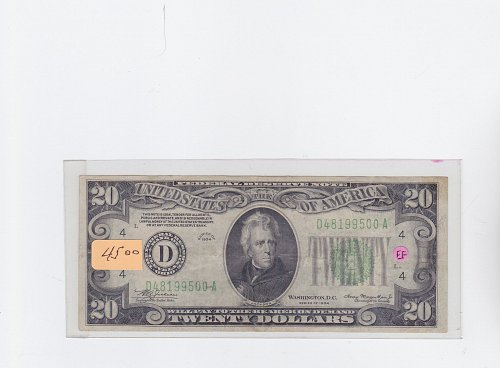 1934 Federal Reserve $ 20.00 Note