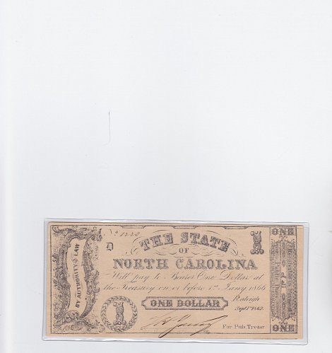 1862 The State of North Carolina $1 Note