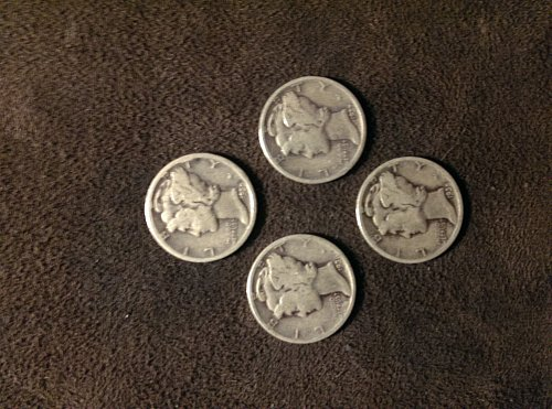 Lot of 4 mercury dimes 1935, 35, 36 and 37