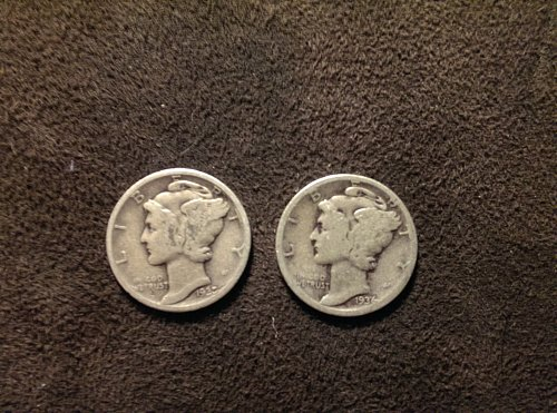 Lot of 2 mercury dimes B 1935, and 1936