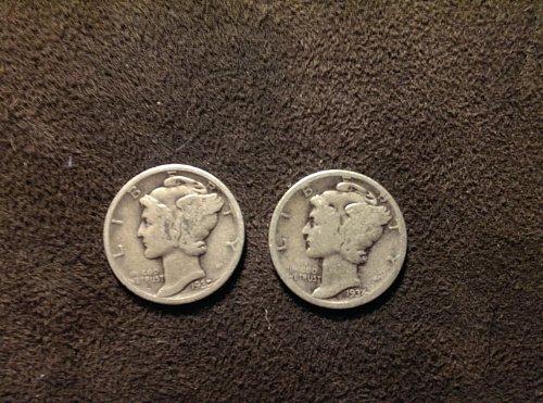 Lot of 2 mercury dimes B 1935, and 1936