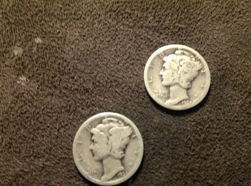 Lot of 2 mercury dimes D 1935, and 1936