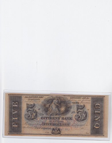 1800s $5 Citizens' Bank of New Orleans ( Very Rare )