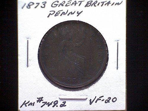1873 GREAT BRITAIN QUEEN VICTORIA PENNY