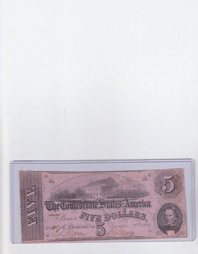 1882 $ 5 Confederate Note Gris # T-53