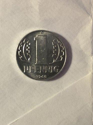 Uncirculated 1968 East German 1 pfennig
