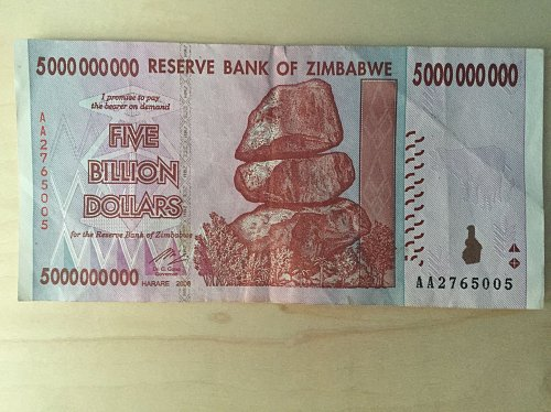 5 Billion Zimbabwe Dollars Real Currency HyperInflation