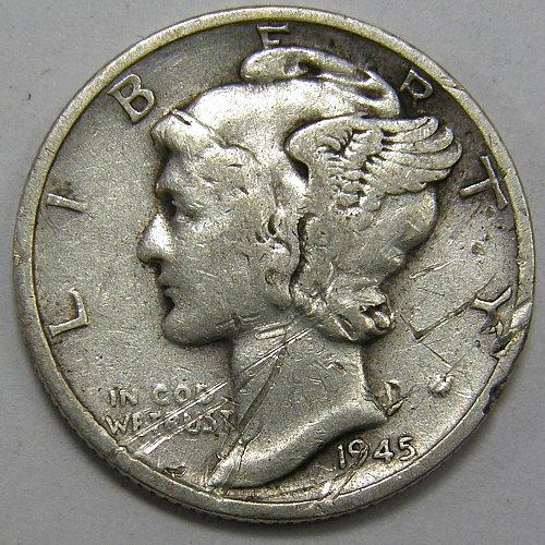 1945 S Mercury Dime #3 Micro S