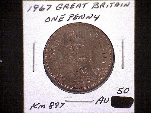 1967 GREAT BRITAIN QUEEN ELIZABETH 11  PENNY