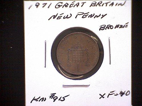 1971 GREAT BRITAIN QUEEN ELIZABETH 11  NEW PENNY