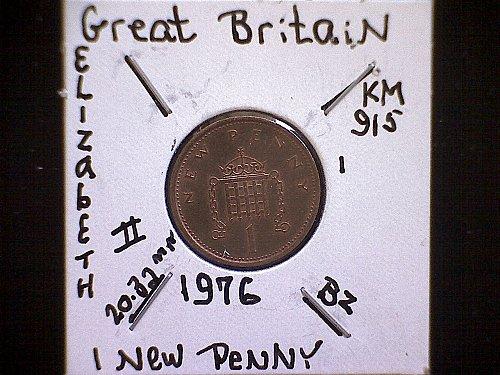 1976 GREAT BRITAIN QUEEN ELIZABETH 11 NEW PENNY