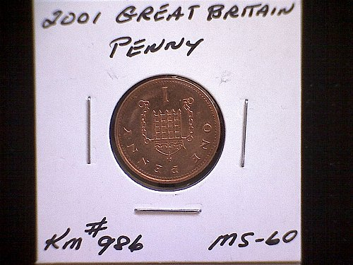 2001 GREAT BRITAIN QUEEN ELIZABETH 11 ONE PENNY