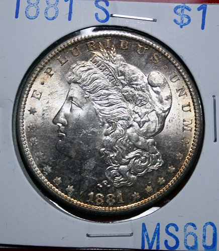 1881 S Morgan $1 UNC Mint State Sixty