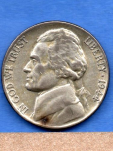 1944P Silver Jefferson War Nickel Genuine Natural US Coin