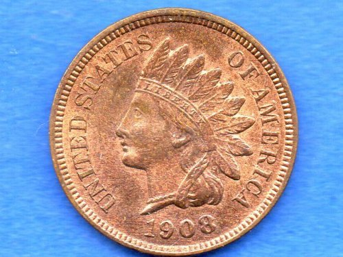 1908 Indian Head Penny Genuine Natural US Coin
