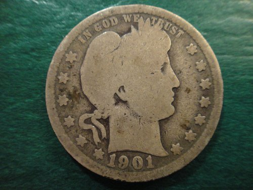 1901 Barber Quarter Good-4 Nice Smooth Surfaces with Minimal Marks!