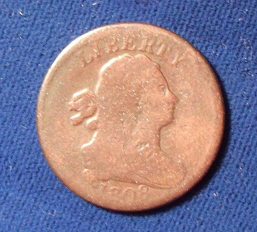 1808 Draped Bust Half Cent AG w/light damage