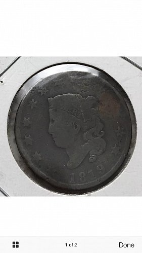 1819 One Cent Coin (Coronet)