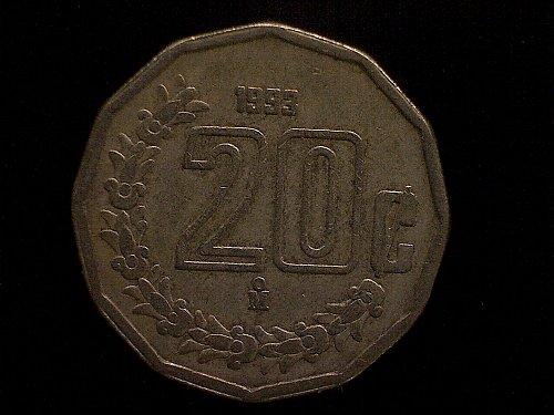 1993MO MEXICO TWENTY CENTAVOS