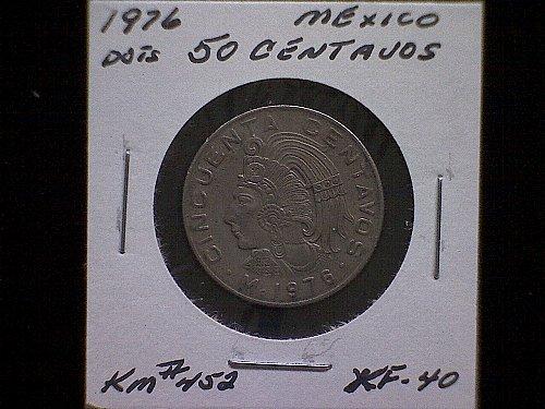 """1976MO MEXICO FIFTY CENTAVOS   """"DOTS"""""""