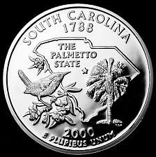 2000 S  SILVER PROOF SOUTH CAROLINA STATE QUARTER