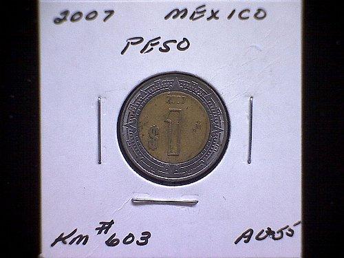 2007MO MEXICO ONE PESO 'BI-METALLIC'