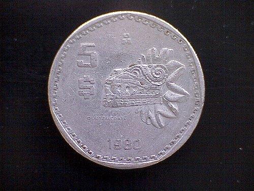 1980MO MEXICO FIVE PESOS