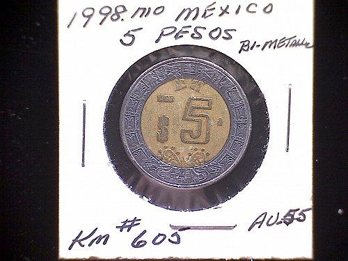 1998MO MEXICO B-METALLIC FIVE PESOS
