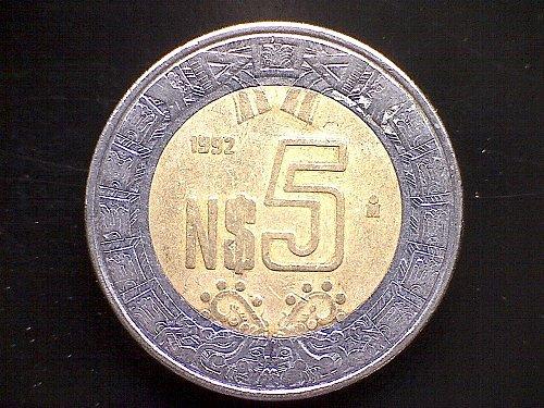 1992MO MEXICO NUEVO FIVE PESOS