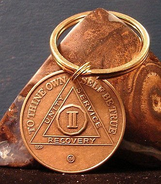 Alcoholics Anonymous AA 2 Years Keychain Bronze medallion coin Token key chain