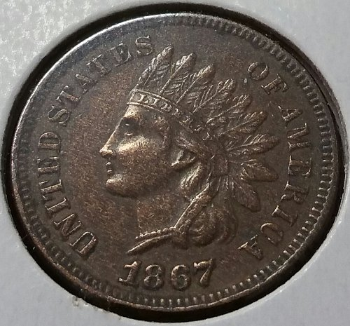 1867 Indian Head Cent - XF 45