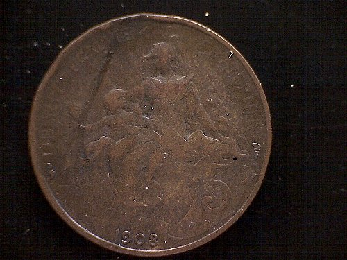 1908 FRANCE FIVE CENTIMES